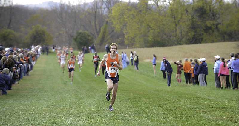 Syracuse's Martin Hehir pushes to the finish line during the ACC Cross Country Championship, Friday, Oct. 31, 2014, in Earlysville, Va. #ACCXC (Photo by Sara D. Davis, theACC.com)