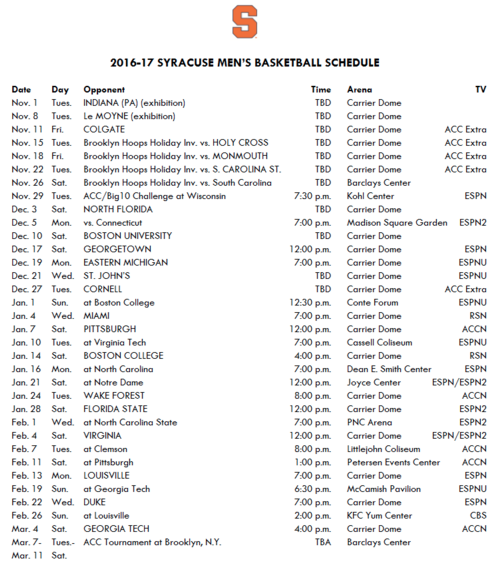 full 2016 17 syracuse men s basketball schedule released the daily